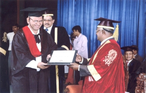 Hanumanth B Rao being presented his Masters of Business Laws (MBL)
